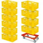10-teiliges SPAR-Set Euro-Stapelkorb 600x400x240 mm gelb PLUS GRATIS Transportroller