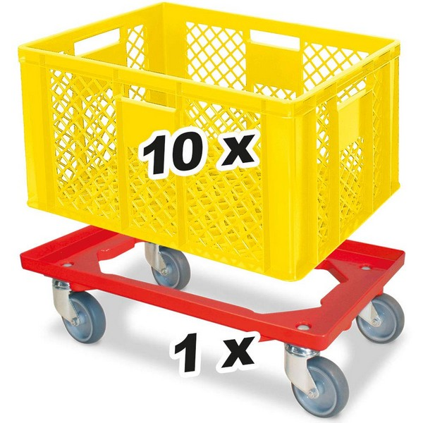 10er SPAR-Set Eurobox / Bäckerkiste 600 x 400 x 320 mm Industriequalität gelb PLUS GRATIS Transportroller