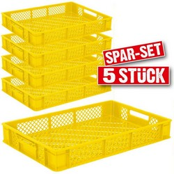 Spar-Set, 5x Stapelkorb / Bäckerkiste gelb 60 x 40 x 9 cm